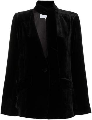 Frame tie neck collarless silk blend velvet blazer