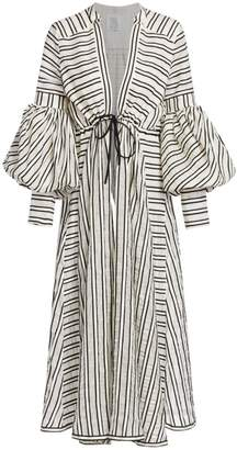 Rosie Assoulin Lantern Sleeve Striped Wool & Silk Maxi Dress