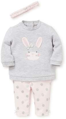 Little Me Bunny Quilted Sweatshirt, Leggings & Headband Set