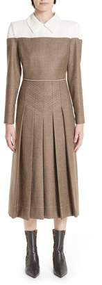 Fendi Silk Yoke Pleated Tweed Dress