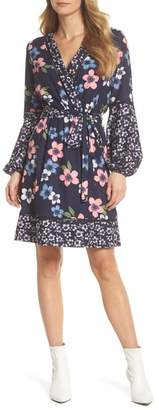 Eliza J Long Sleeve Floral Wrap Dress (Regular & Petite)