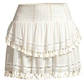 Ramy Brook Women's Morocco Pom-Pom Tiered Skirt