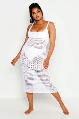 boohoo Plus Crochet Beach Knit Midi Dress