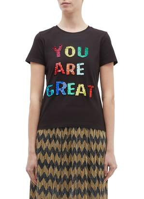 Alice + Olivia 'Rylyn' embellished slogan cropped T-shirt