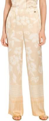 St. John Painted Floral Hammered Satin Silk Pants