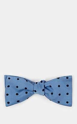 Barneys New York Men's Polka Dot Silk-Cotton Faille Bow Tie - Lt. Blue