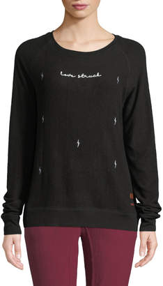 Peace Love World Comfy Lovestruck Embroidered Top