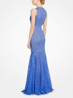 Michael Kors Floral Lace Trumpet Gown