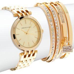 Watch & Crystal-Studded Bracelet- Set of 5 $125 thestylecure.com