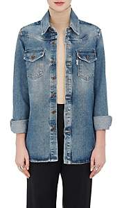 Off-White Women's Western-Style Denim Blouse-Blue