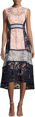 Nanette Lepore Sleeveless Colorblock Lace Midi Dress, Pink/Blue