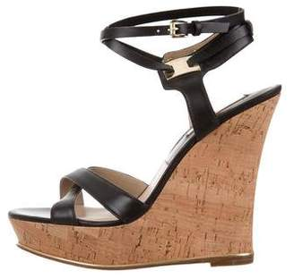 Michael Kors Leather Ankle Strap Wedges