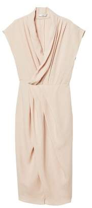 MANGO Draped neckline soft dress