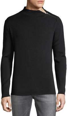 Karl Lagerfeld Paris Men's Mock-Neck Zip-Detail Sweater