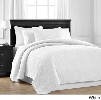 Comfy Bedding Staniey Collection Prewashed Jigsaw Quilted 3-piece Coverlet Set