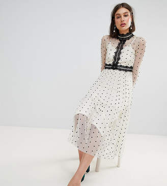 Lace and Beads Lace & Beads Polka Dot Midi Dress With Lace Inserts