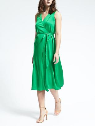 Sleeveless Vee Neck Wrap Dress $138 thestylecure.com
