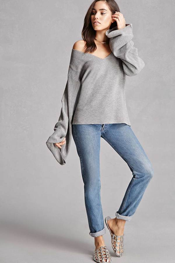 FOREVER 21+ Ribbed Bell-Sleeve Top