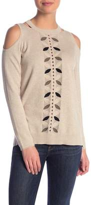Democracy Cold Shoulder Leaf Knit Sweater