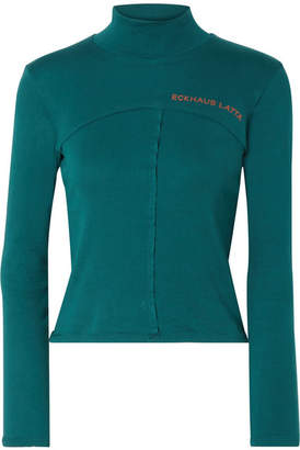 Eckhaus Latta Printed Cotton-jersey Turtleneck Top - Emerald