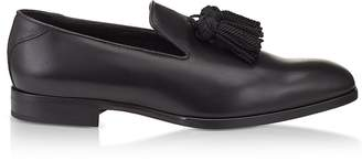 Jimmy Choo Foxley Black Soft Nappa Leather Tasselled Slippers
