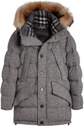 Burberry detachable fur trim hooded puffer jacket
