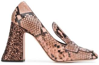 Rochas snakeskin-effect heeled pumps