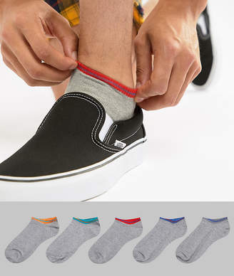 Asos DESIGN sneaker socks in gray marl with retro contrast tipping 5 pack