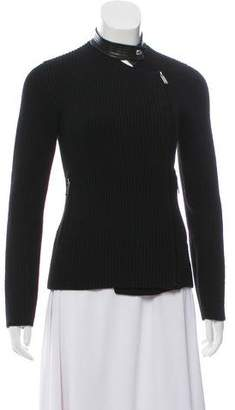 Barbara Bui Rib Knit Leather-Trim Zip Jacket