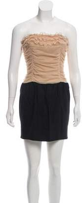Elizabeth and James Wool-Paneled Strapless Dress