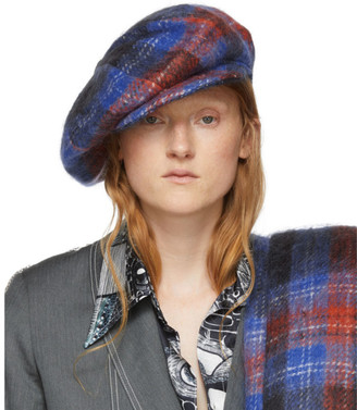 Charles Jeffrey Loverboy Blue and Red Tartan Flat Cap