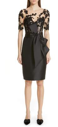 Badgley Mischka Collection Lace Accent Bow Cocktail Dress