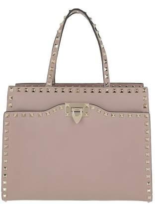 Valentino Rockstud Top Handle Bag Medium Leather Poudre