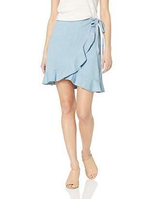 J.Crew Mercantile Women's Tie Waist Chambray Ruffle Wrap Mini Skirt