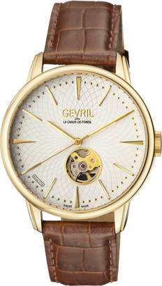 Mulberry Gevril 9603 Gold-Tone & Brown Watch