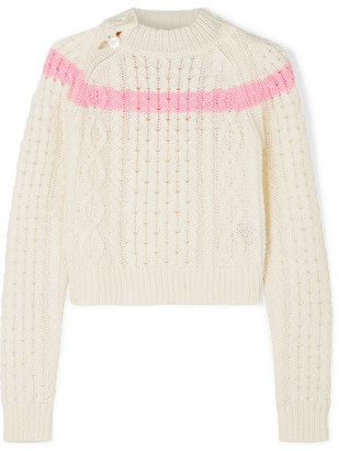 Preen Line Jessica Striped Cable-knit Sweater - White