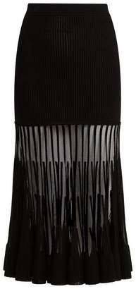 Alexander McQueen Ottoman Knit Midi Skirt - Womens - Black