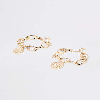River Island Gold tone chunky coin link bracelet