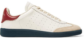 Isabel Marant Bryce Logo-print Suede-trimmed Leather Sneakers - White