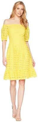 Donna Morgan Short Sleeve Off the Shoulder Eyelet Dress Women's Dress