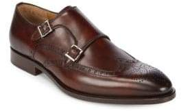 Leather Monk Strap Brogue Shoes