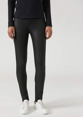 Emporio Armani Super Skinny Trousers In Coated Fabric