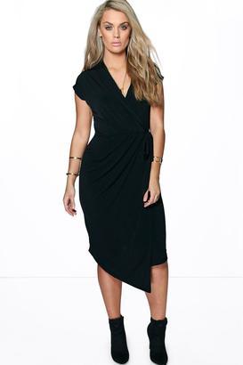 boohoo Plus Nicole Wrap Front Midi Dress $40 thestylecure.com