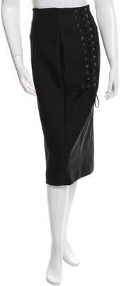 Christian Dior Wool Lace-Up Midi Skirt w/ Tags