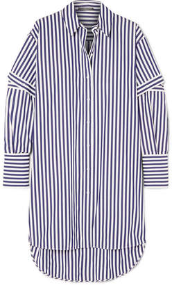 Alexander McQueen Oversized Cutout Striped Cotton-poplin Shirt - Blue