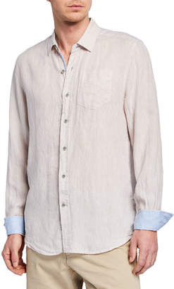 Report Collection Men's Solid Linen Long Sleeve Sport Shirt