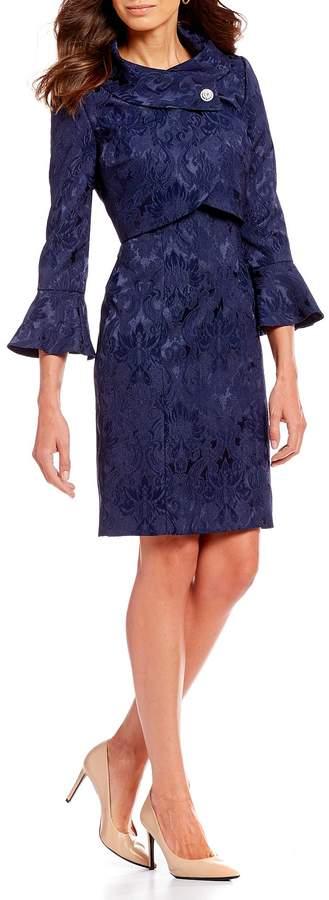Tahari Asl Tahari ASL Jacquard Jacket Dress
