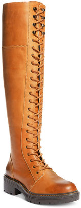 Kelsi Dagger Brooklyn Malcom Lace-Up Block-Heel Over-The-Knee Boots $250 thestylecure.com