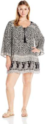 Angie Women's Plus Size Elephant and White Printed Bell Sleeve Dress