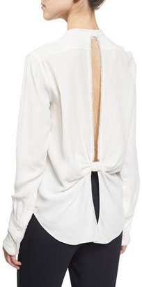Helmut Lang Back-Knot Frayed Crepe Top, White $360 thestylecure.com